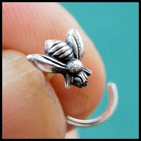 Sweet Bee Insect Nose Stud in Sterling Silver - L, Screw or Bone End