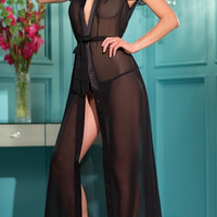 Long Chiffon Robe with Lace Sleeves