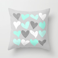Mint white grey grunge hearts Throw Pillow by Silvianna
