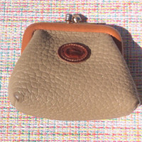 Dooney and Bourke Taupe Leather Kiss Lock Coin Purse Travel Organizer