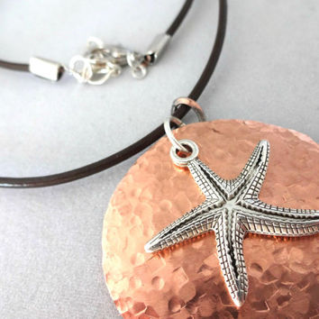 Artisan Hammered Copper Round Pendant, Starfish Pendant Necklace, Leather and Copper Jewelry #Accessories #Necklace #Summer #Starfish