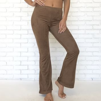 Per Suede Me Brown Flare Pants