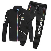 Trendsetter Adidas Women Men Cardigan Jacket Coat Pants Trousers Set Two-Piece