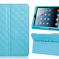 Faux Leather Plaid Stand Protective Case for iPad Mini (Blue)