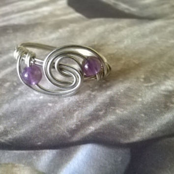 natural Amethyst ring artisan wire wrapped stone bead ring raw purple gemstone handmade crystal jewelry silver or gold February birthstone