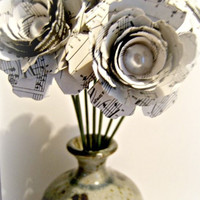 Bouquet of 12 ( one dozen ) paper flower music roses with 7 inch stems