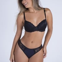 Black Lace Cheeky Push-up Bra and Thong
