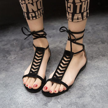 Summer Style Gladiator Sandals Woman Cross-tied sandalias Women Boots Sexy Ankle Strap Sandal Cut outs Flat Shoes Black Green