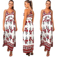 White and Red Floral Print Maxi Dress
