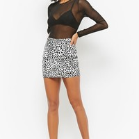 Motel Cheetah Print Denim Mini Skirt