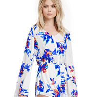White and Blue Printed V-Neckline Flared Long Sleeve Romper