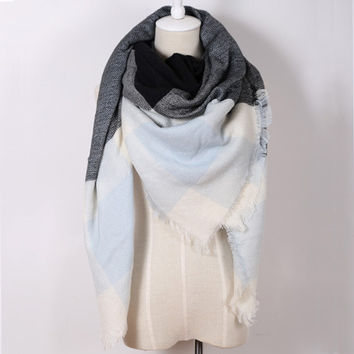 Piper Plaid Scarf in Light Blue & Gray