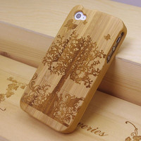 iPhone 4s case - wooden cases bamboo - Apple Tree - laser-engraved