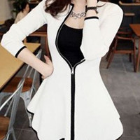 White ZipUp Long Sleeve Ruffled Dress