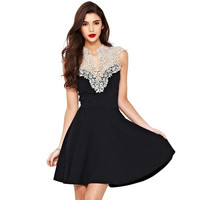 Womens Ladies Tunic Party Evening Prom Black Floral Lace Mini Short Skater Dress F_F [7654310726]