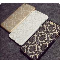 Baroque Retro Lace Pattern PC Case for iPhone 4 4s 5 5s 5c 6 6s 6 6sPlus