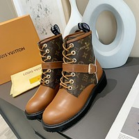 LV Louis Vuitton Trending Women's men Leather Side Zip Lace-up Ankle Boots Shoes High Boots12