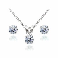 Clear Stud Earrings & Necklace Set made with Swarovski Crystals in 925 Silver