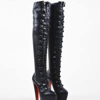 DCCK Black Christian Louboutin Leather  Maxicroche  Thigh-High Boots