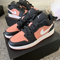 "Nike Air Jordan 1 Low GS ""Pink Quartz"" low-top flat sports skateboard shoes"