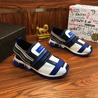 Dolce & Gabbana D&G Sorrento Sneakers In Mixed Materials White/blue - Best Online Sale