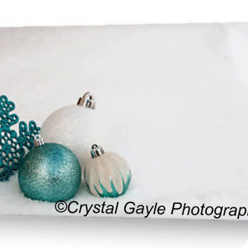"""Company Greeting Cards ~ Christmas Ornaments ~ 4.25""""x5.5"""" or 5""""x7"""", New Years Eve Party Invitations, Turquoise Note Cards, Winter White Snow"""