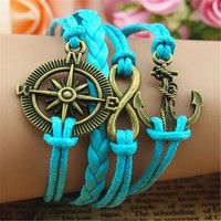 MagicPieces Compass Anchor Braid Infinity 4 Layers Blue Handmade MultiLayered Bracelet For Women's Teens Friendship Birthday Gift