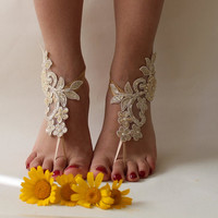 Champagne Lace Barefoot SandalsWedding Shoes,Beach Wedding Barefoot Sandals,French Lace sandals,Lace shoes,Foot Jewelry