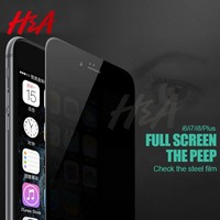 H&A Privacy Protection Full Cover Film Tempered Glass For iPhone X 10 6 6s 7 Plus Screen Protector For iPhone 7 6 Plus X Glass