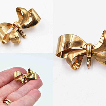 Vintage Carl-Art 12K Yellow Gold Filled Watch Pin, 3D Bow, Watch Brooch, Pendant Pin, Charm Holder, Versatile, So Lovely! #c501