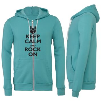Keep Calm and Rock On Zipper Hoodie