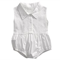 Newborn Kids Baby Girl Clothes Tops Jumpsuit Romper White Sleeveless Infant Outfit Clothing Girls Summer