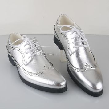 2015 New Arrivals Silver/Gold Groom Wedding Shoes Men's Prom Shoes Leather Casua