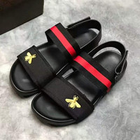 GUCCI Bee Rome stripe man Sandal Slipper Shoes black H-PSXY