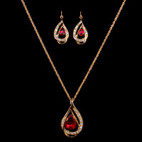 18K Gold Red Crystal Teardrop Earring & Necklace Set