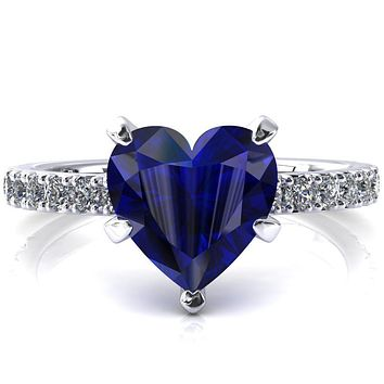 Nefili Heart Blue Sapphire 5 Prong 5/8 Eternity Diamond French Pave Engagement Ring