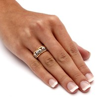18k Yellow Gold-Plated Elephant Caravan Two-Tone Ring