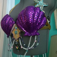 Ariel Royal Fantasy Purple Little Mermaid shell costume cosplay belly dance rave Bra top B-C Unique Ready to wear