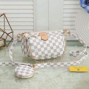 LV Louis Vuitton classic letter printing women's three-piece mahjong bag shopping messenger bag shoulder bag round small wallet