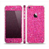 The Pink Sparkly Glitter Ultra Metallic Skin Set for the Apple iPhone 5s
