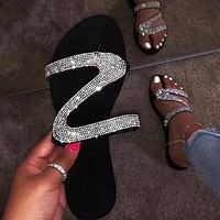Sandals clip toe rhinestone flat bottom fashion sandals Z shape