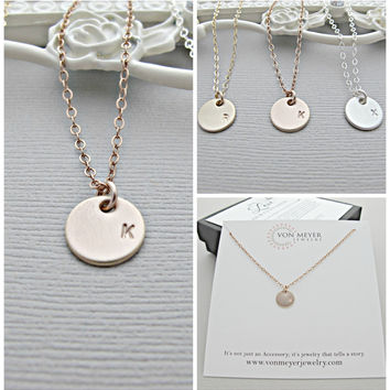 Rose Gold Disc Necklace, Rose Gold Necklace, Rose Gold TAG Necklace, Personalized Necklace, Monogram Necklace, Nameplate Necklace, Name