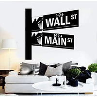Vinyl Wall Decal Street Signs Wall Street New York Room Interior Stickers Unique Gift (ig4336)