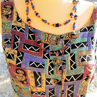Vintage Wood Long Necklace Rainbow Bead Necklace Single Strand Necklace Vintage Jewelry Gift