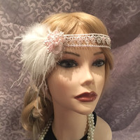 1920's inspired flapper white pink beaded cluster sequin pearl iridescent headband ostrich feather adjustable 1920s head headpiece (707)