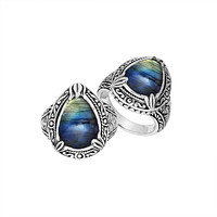 """AR-8026-LB-8"""" Sterling Silver Ring With Labradorite"""