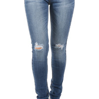 Med Rise Knee Distressed Ankle Skinny Jeans