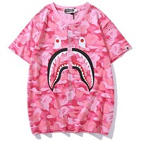 Bape camouflage flame print round neck half sleeve T-shirt