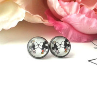 Lil Minnie & Mickey Mouse Kiss Stud Earrings - Minnie Mouse - Mickey Mouse - Minnie Mouse Earrings - Fake Plugs - Minnie and Mickey - Studs