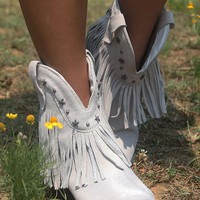 Very Volatile Deerwood Ice Fringe Southwestern Ankle Boot